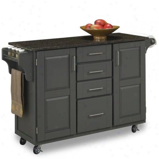 Home Styles Capacious Cabinet Kitchen Cart With Gray And Sapmon Granite Top
