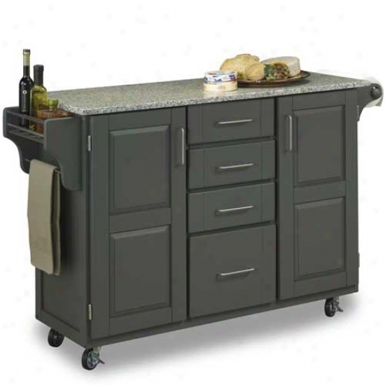 Home Styles Large Craete-a-cart With Salt And Pepper Granite Top