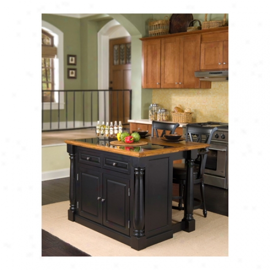 Home Styles Monarch Kitchen Island With Granite Insert Top And Two Stools