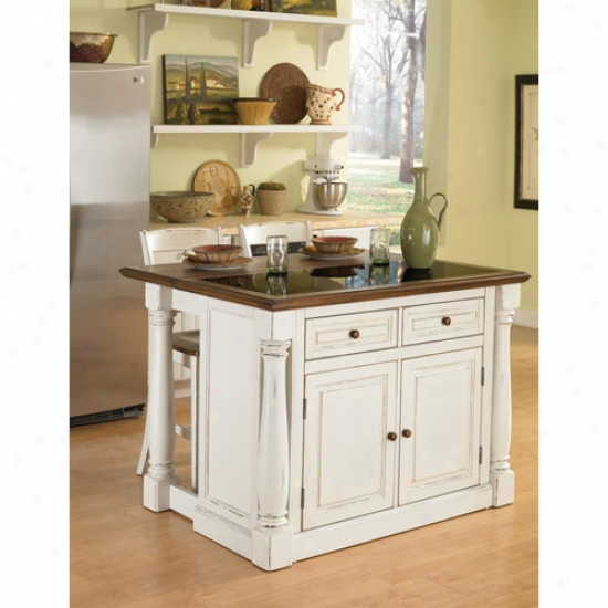 Home Styles Monarch Kitchen Island With Granite Top And Two tSools