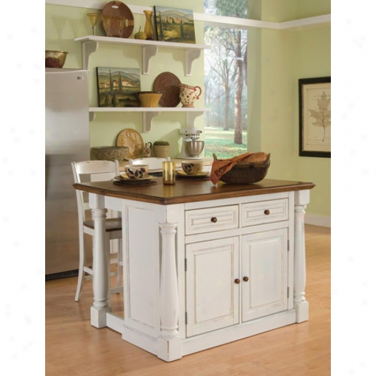 Home Styles President Kitchen Island With Two Stools