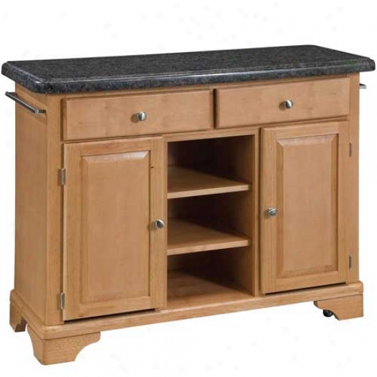 Home Styles Premium Kitchen Cart With Salmon Granite Top