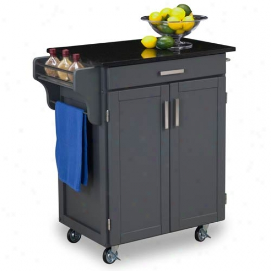 Hme Styles Small Cabinet Kitchen Cart With Black And White Granite Top