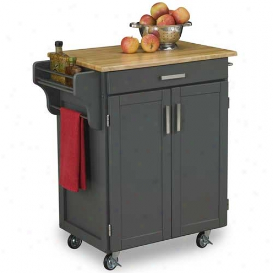 Home Styles Small Create-a-cart With Wood Top