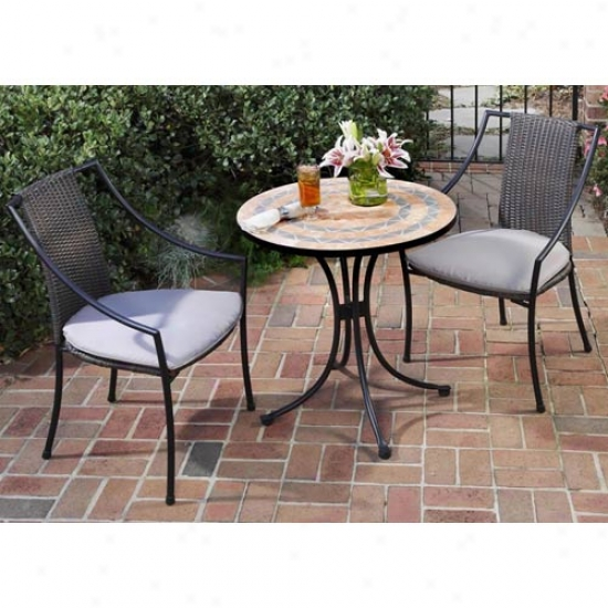 Homme Styles Terra Cotta Bistro Outdoor Table With Two Laguna Slope Arm Chairs