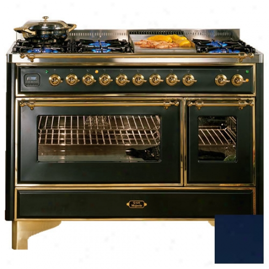 Ilve 48 Inch Dual Fuel 6 Burner Range With Agitation Top And 2 Rotisseries
