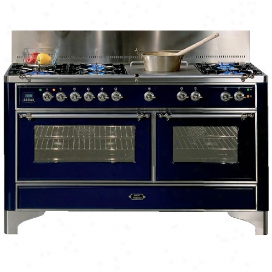 Ilve 60 Inch Dual Fuel 6 Burner Range By the side of Coup De Feu And Rotisserie