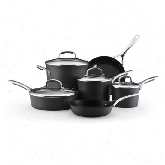 Kitchenaid 10 Piece Black Cookware Set W/ 3 Quart Saucepan