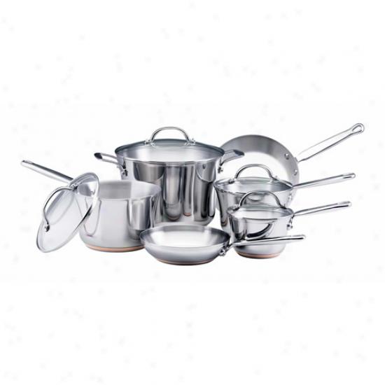 Kitchenaid 10 Piece Steel Cookware Set W/ 8 Quart Stockpot