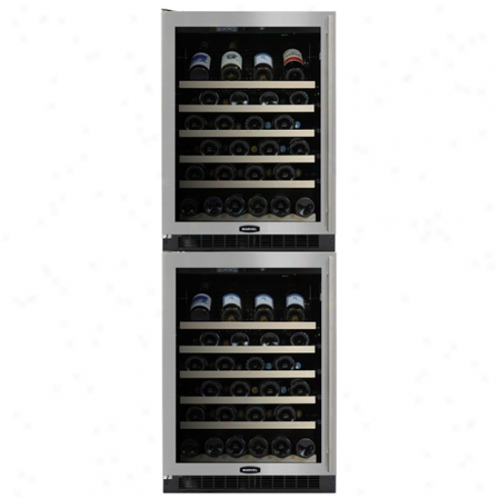 Marvel 24 Inch Double Wine Cellar Black Cabinet Stainless Steel Frame And Glass Door