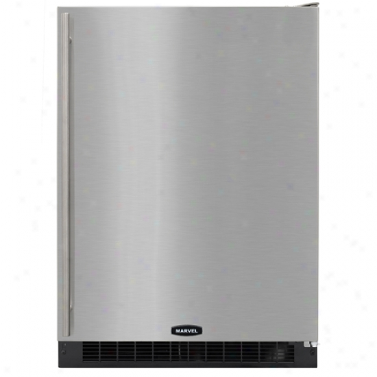 Marvel 24 Inch Energy Star Refrigerator With Black Cabinet And Stainless Steel Locking Door