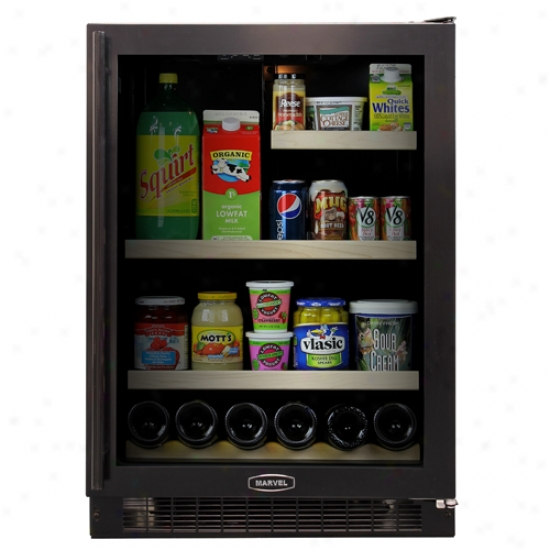 Wonder 24-inch Refrigerator With Black Cabinet And Black Trim Glass Door