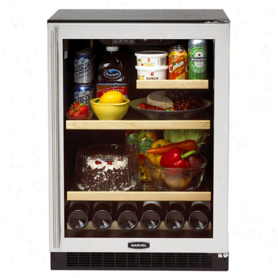 Marvel 24i-nch Refrigerator With Black Cabinet And Stainless Steel Trim Glass Door