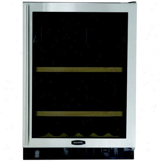 Marvel Beverage And Wine Refrigerator - 24  Wide - Black Cabinet, Stainless Glass Door
