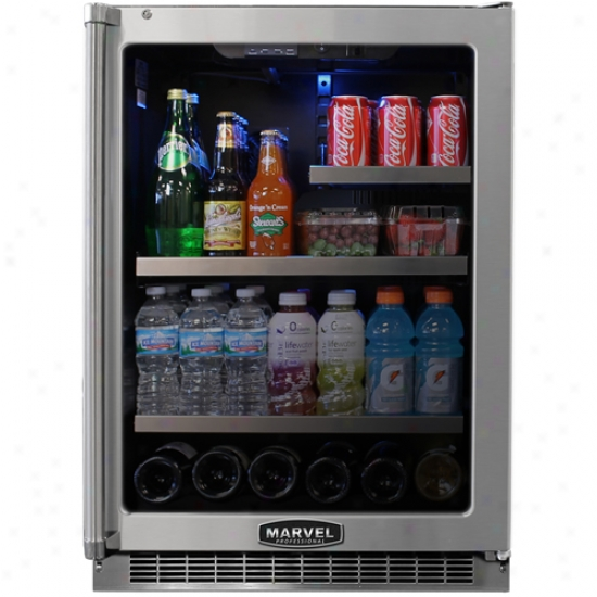 Marvel Professiona l24 Inch Refrigerator With Black Cabinet And Locking Glass Door
