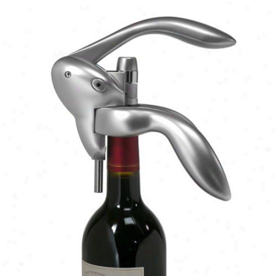 Metrokane Houdini Lever Style Corkscrew With  Foil Cutter - Silver