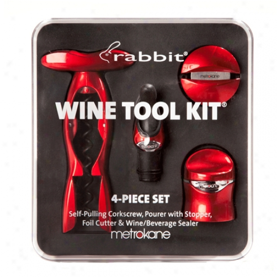 Metrokane Metallic Red Rbbit 4-ipece Wine Tool Kit