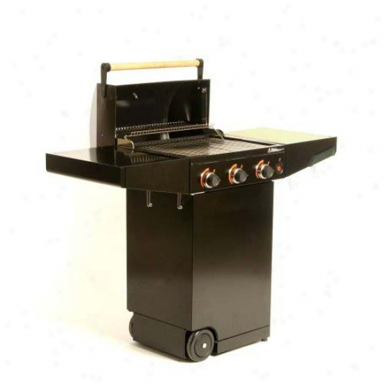 Minden Master Natural Gas Grill - Black With Bamboo Cutting Boards