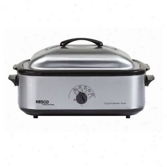 Nesco 18 Quart Roaster Upon Non-stick Cookwell And Stainless Steel Cover And Base