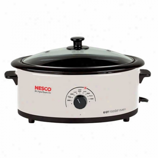 Nesco 6 Qt Porcelain Roaster With Non-stick Cookwell