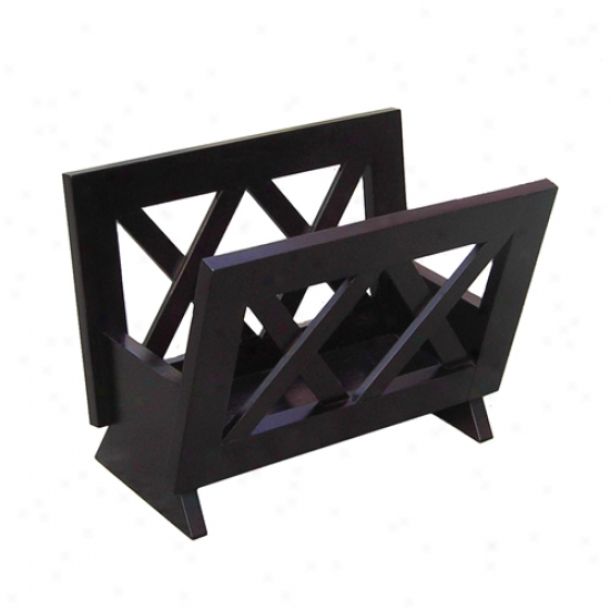 Oceanstar Contemporary Mahogany oSlid Wood Magazine Rack