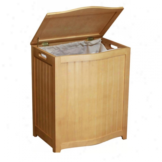 Oceanstar Natural Finished Bowed Front Wood Laundr yHamper With Interiior Bag