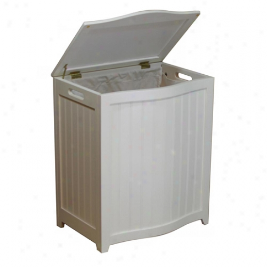 Oceanstar White Finished Bowed Front Wood Laundry Hamper With Interior Bag