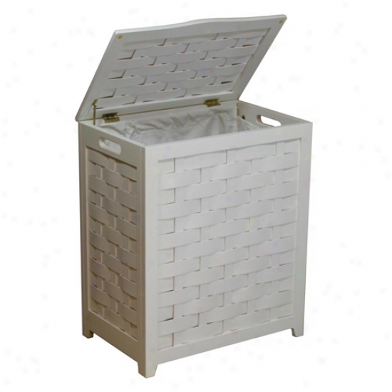 Oceanstar White Finished Rectangular Laundry Hamper With Interior Bag