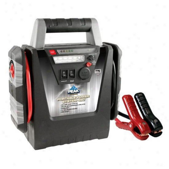 Peak 450 Amp Jump Starter / Inflator With Usb Outlet, 12 Volt Power Source And Led Worklight