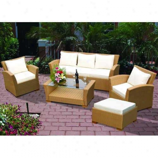 Royal Teak Collection 4 Piece Charleston Wicker Sofa Set - Honey