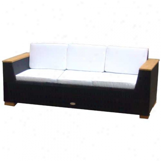 Royal Teak Collection 4 Piece Key West Wicker Couch Set - Black
