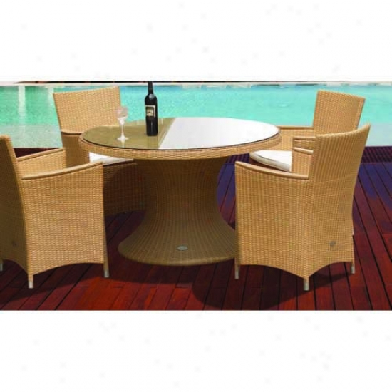 Royal Teak Collection 5 Piece Honey Twig Helena Set - 48  Table