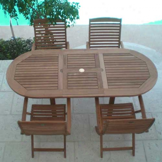 Royal Teak Collection 5 Piece Set - Family Oval Table And Admiral Chairs