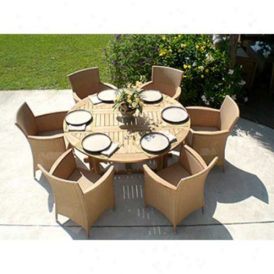 Royal Teak Collection 7 Piece Set - 5' Round Table And Helenna Chairs