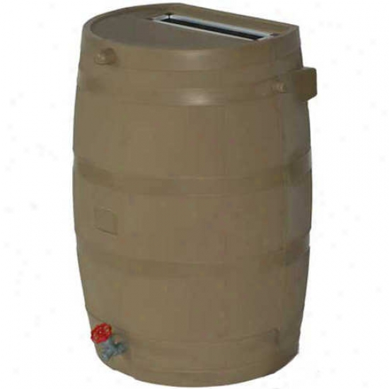 Rts Flat Back 50 Gallon Rain Bareel Upon Plastic Spigot - Tan