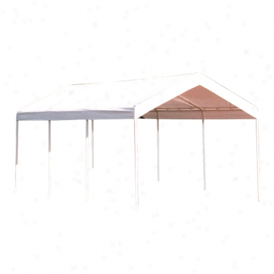 Shelterlogic 10' X 20' Super Max Deluxe Canopy With Enclosure Kit - White