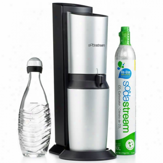 Sodastream Crystal Black And Silver Soda Maker With Starter Kit