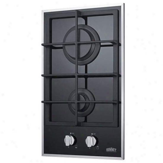 Summit 2-burner Gas-on-glass Cooktop W/sealed Burners & Cast Iron Grates