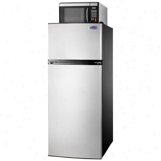 Summit 24-inch 10.3 Cu. Ft. Energy Star Stainless Steel Microwave Refrigerator-freezer Combo