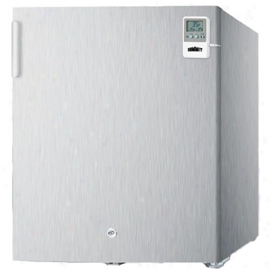 Summit Press together Spotless Steel All Refrigerator W/ Lock, Temp Call to arms, And Hospital Gradr Cord