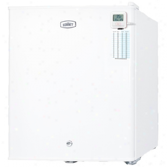 Summit Compact White All-refrigerator W/ Lock, Internal Fan & Traceable Thermometer