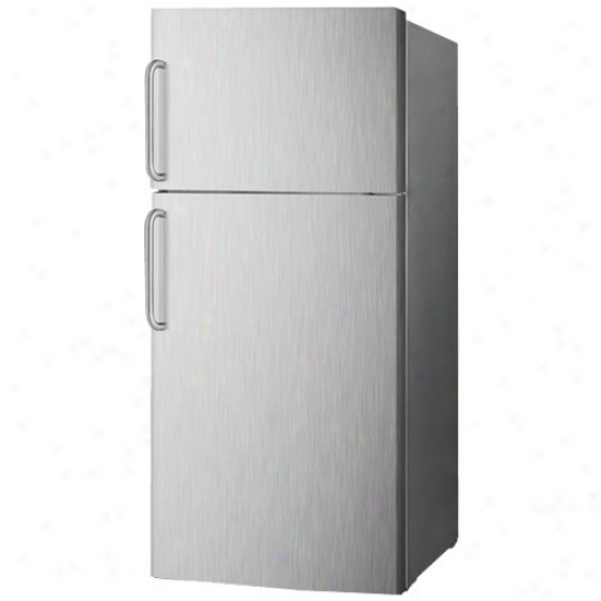 Summit Frost Free Refrigerator Freezer - Platinum And Stainless Steell