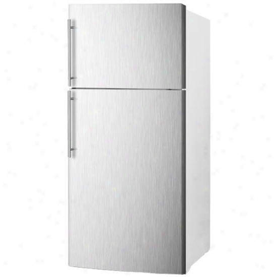 Summit Frost Free Refrigerator Freezer - White And Stainless Steel