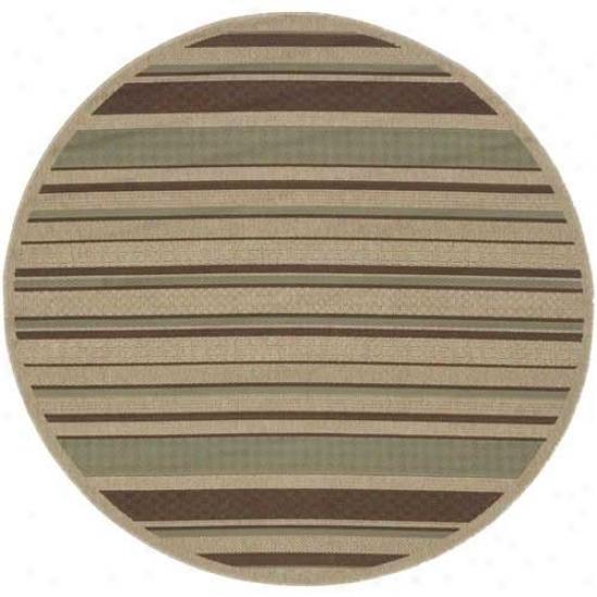 Surya Alfresco Beige/teal Striped Outdoor Rug