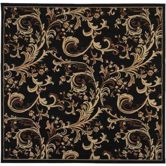 Surya Alfresco Black Floral Outdoor Rug