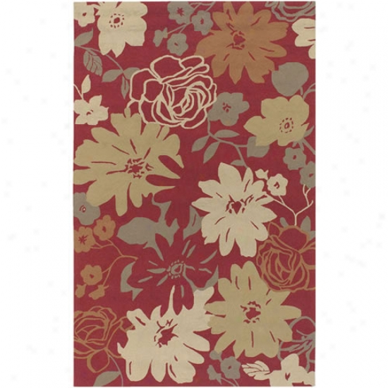 Surya Rain Dark Red Flower Outdoor Rug