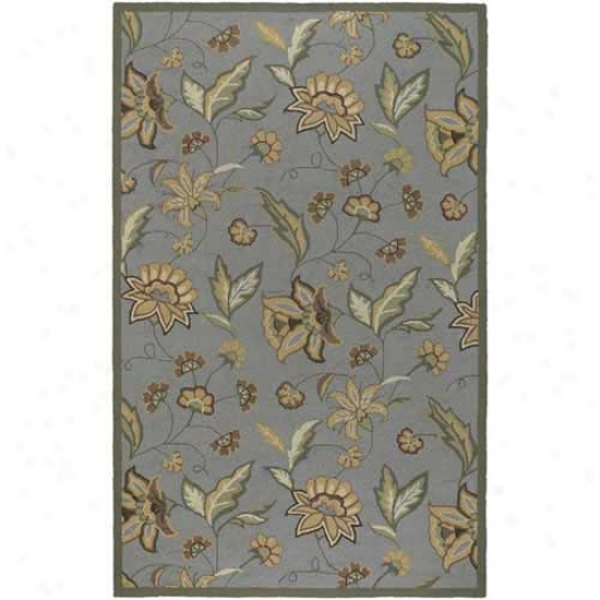Surya Rain Pale Blue Flower Outdoor Rug