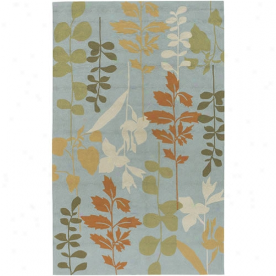 Surya Rain Pale Blue Leaf Branch Outdoor Rug