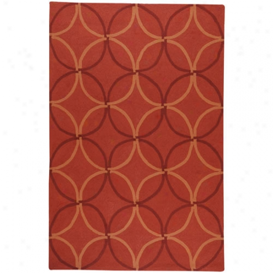 Surya Rain Red Diamond/oval Pattern Outdoor Rug