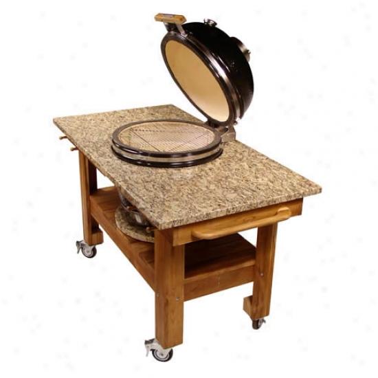 Teak Cart W/ Amber Cloudburst Granite Top
